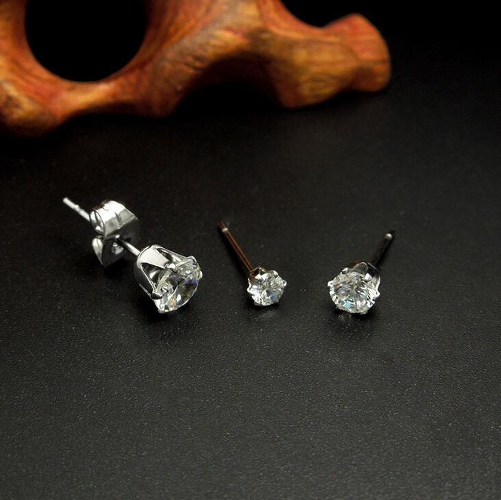 Crystal Stud Earrings 316L Stainless Steel Women Fashion Jewelry