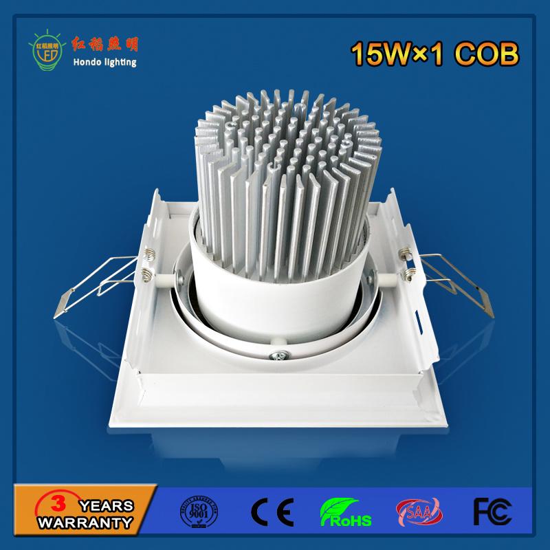 Aluminum 90lm/W 15W LED Grille Light for Commercial Lighting