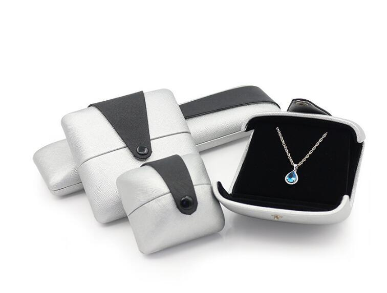 Double Open PU Leather Box Flocking Pendant Necklace Bracelet Ring Box Gift Box