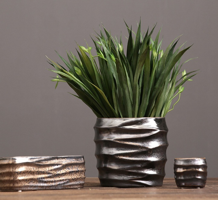 Metal Glaze Ceramic Flower Vase for Home Decoration