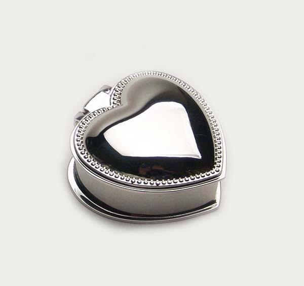 Silver Plated Jewellery Box Trinket Box with Heart Shape