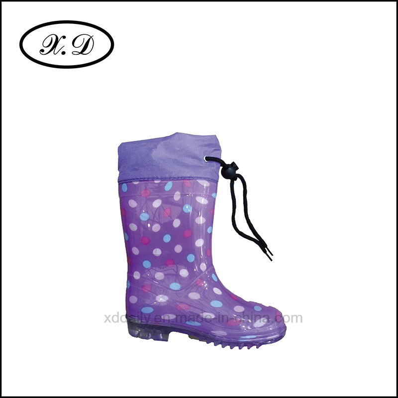 Fashion Rain PVC Kid Boots with Refined Mouth (BX-027)