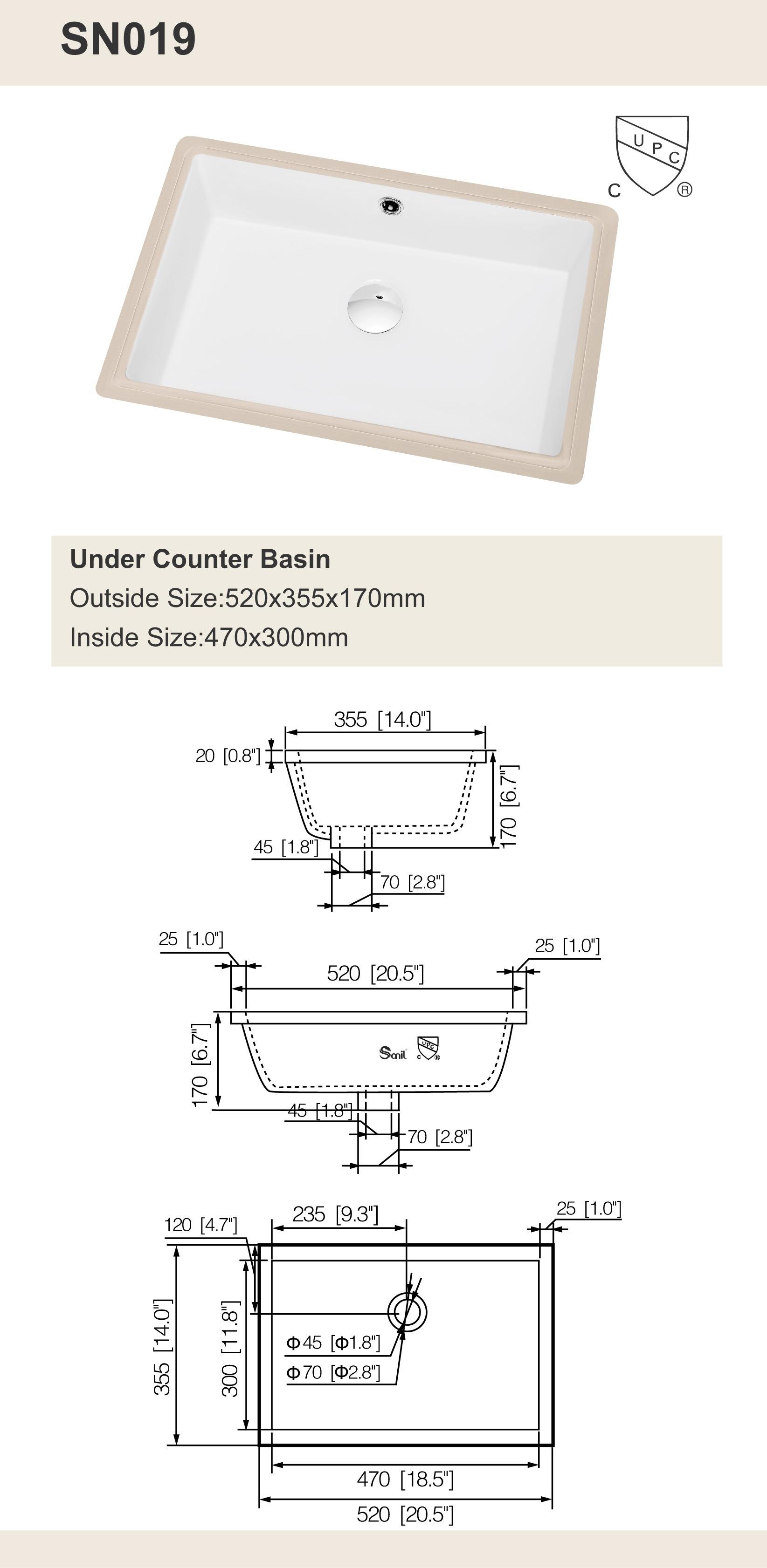 USA Canada Hot Selling Cupc Undermount Ceramic Bathroom Basins (SN019)