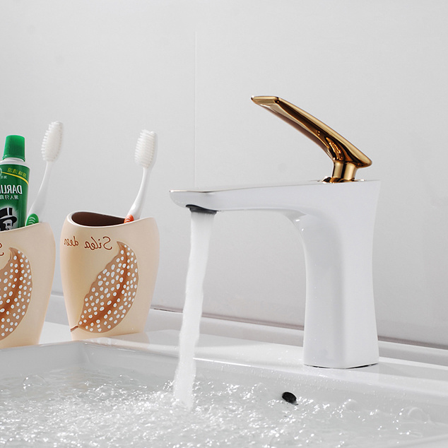 Flg Grilled White Painted & Golden Plated Basin Water Faucet