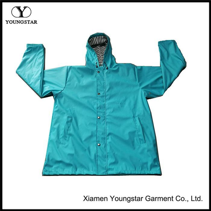 Unisex Waterproof Jacket Fashion PU Raincoat with Hood