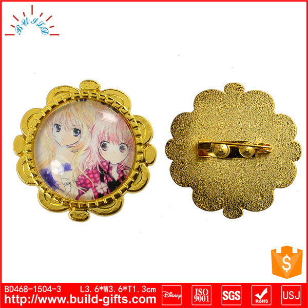 Custom Pin Badge with Glass Stone