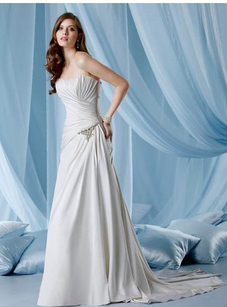 2011 New Designer Silver Strapless Pleated Wedding Dresses