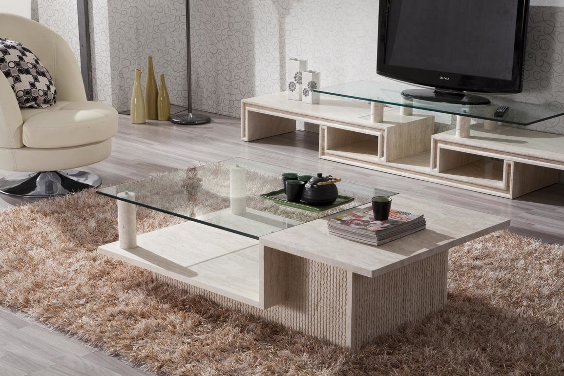 China Good Design Marble Stone Coffee Table Furniture With Tempered Glass D8816 Photos