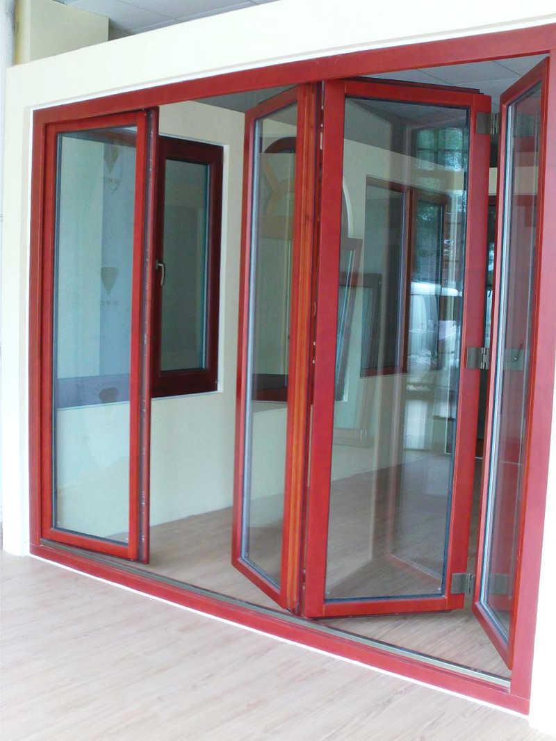 China solid wood folding door china wood window windows for Solid wood patio doors