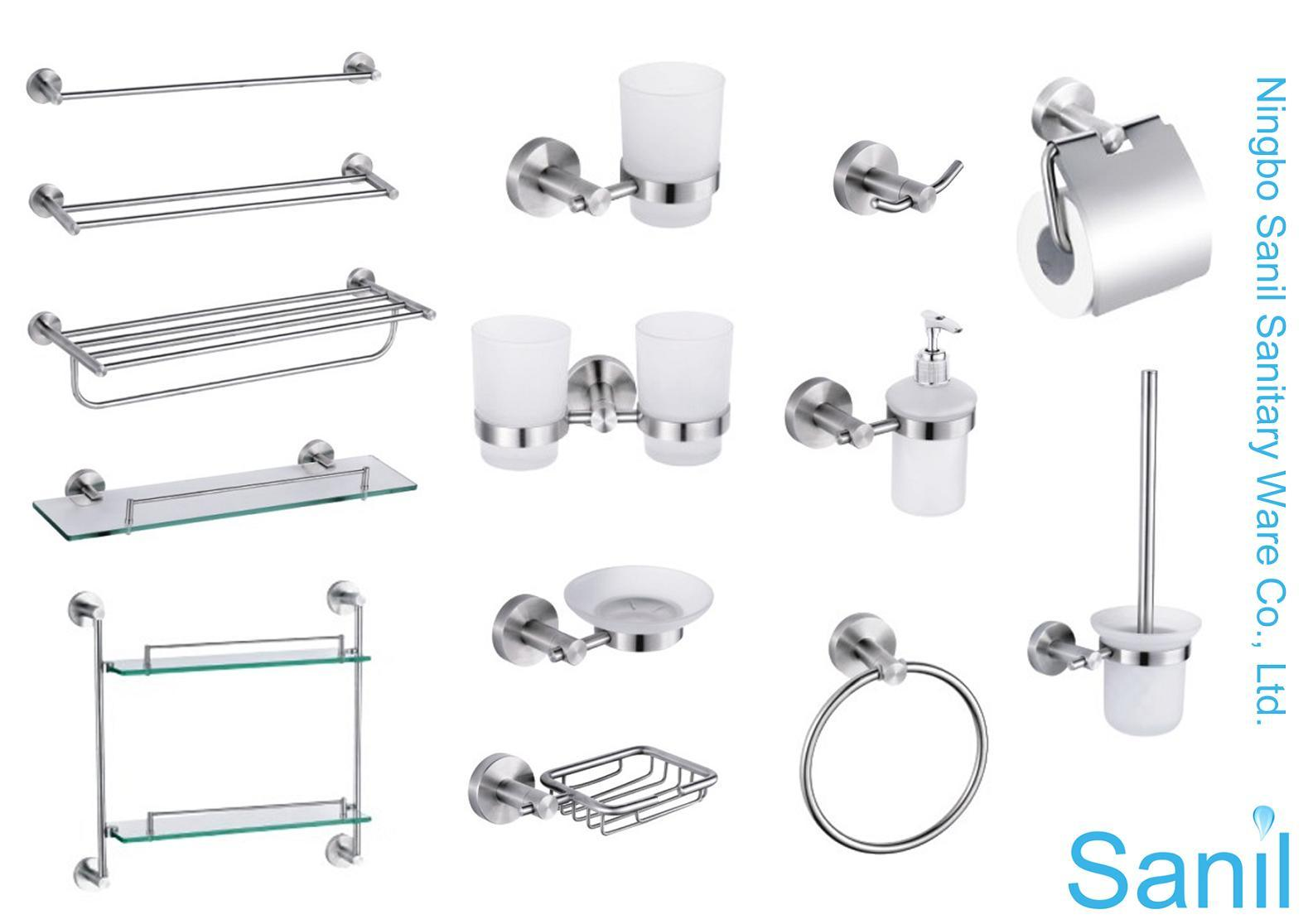 China 6pcs stainless steel bath accessories kits sl 51300 for Bathroom accessories fitting