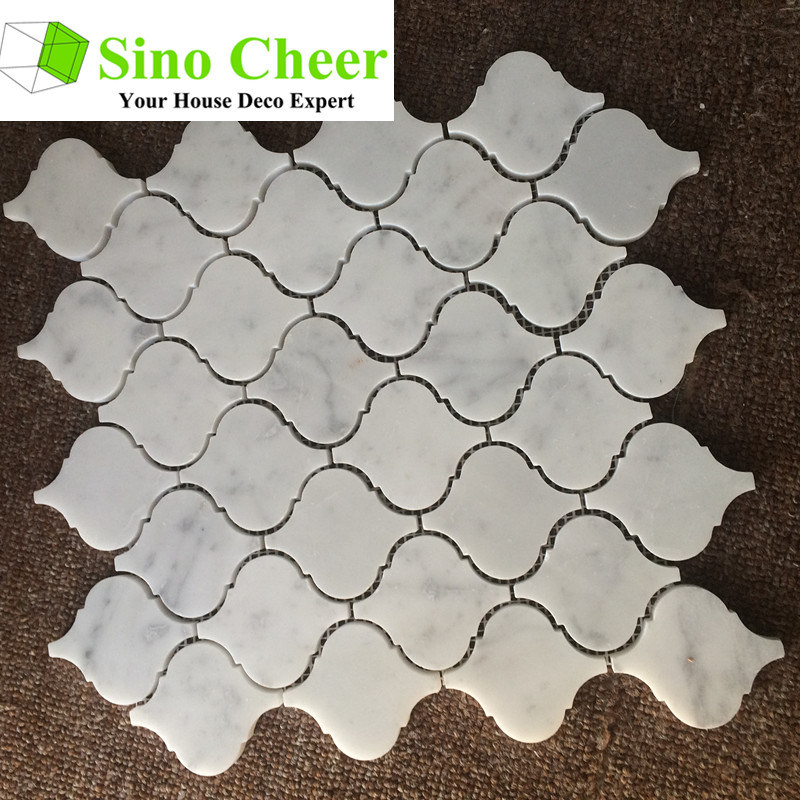 The High Quality Arabesque Carrara White Bianco Marble Mosaic Tile for Bathroom Floor
