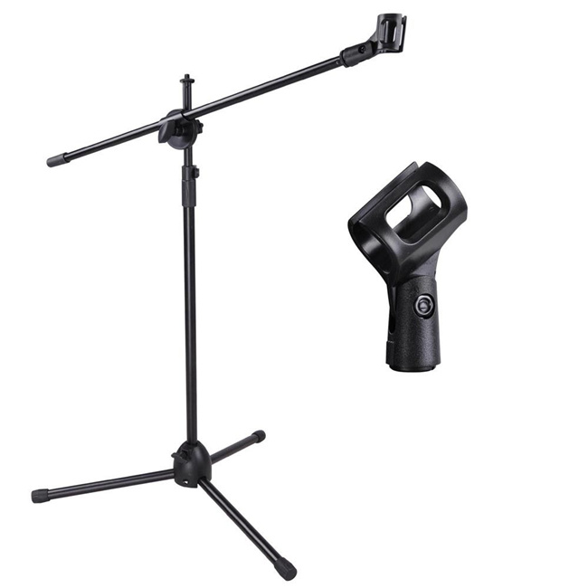 Telescoping Microphone Stand Mic Clip 360 Degree Stage Studio Holder Tripod