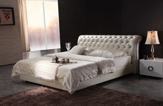 Double Queen Bed : ... Queen Size Double Size Modern Leather Bed - China Modern Leather Bed