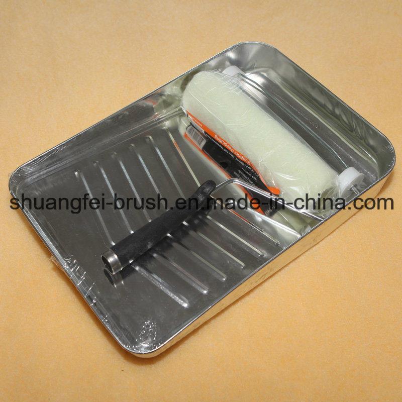 Metal Tray Paint Brush Set