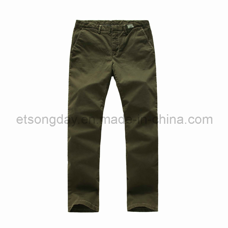 Deep Green Cotton Spandex Men′s Trousers for Sale (TMP 13081)