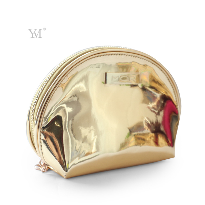 Promotional 2017 Top Quality Gold Shiny Luxury Cosmetic Bag
