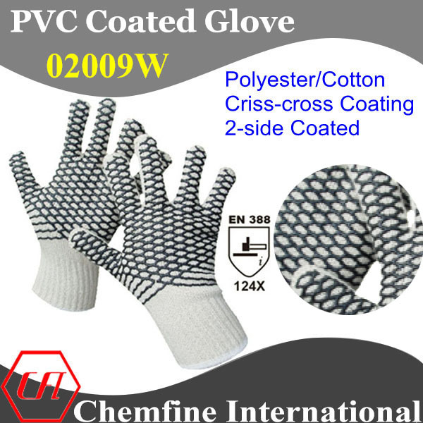 10g White Polyester/Cotton Knitted Glove with 2-Side Black PVC Criss-Cross Coating/ En388: 124X