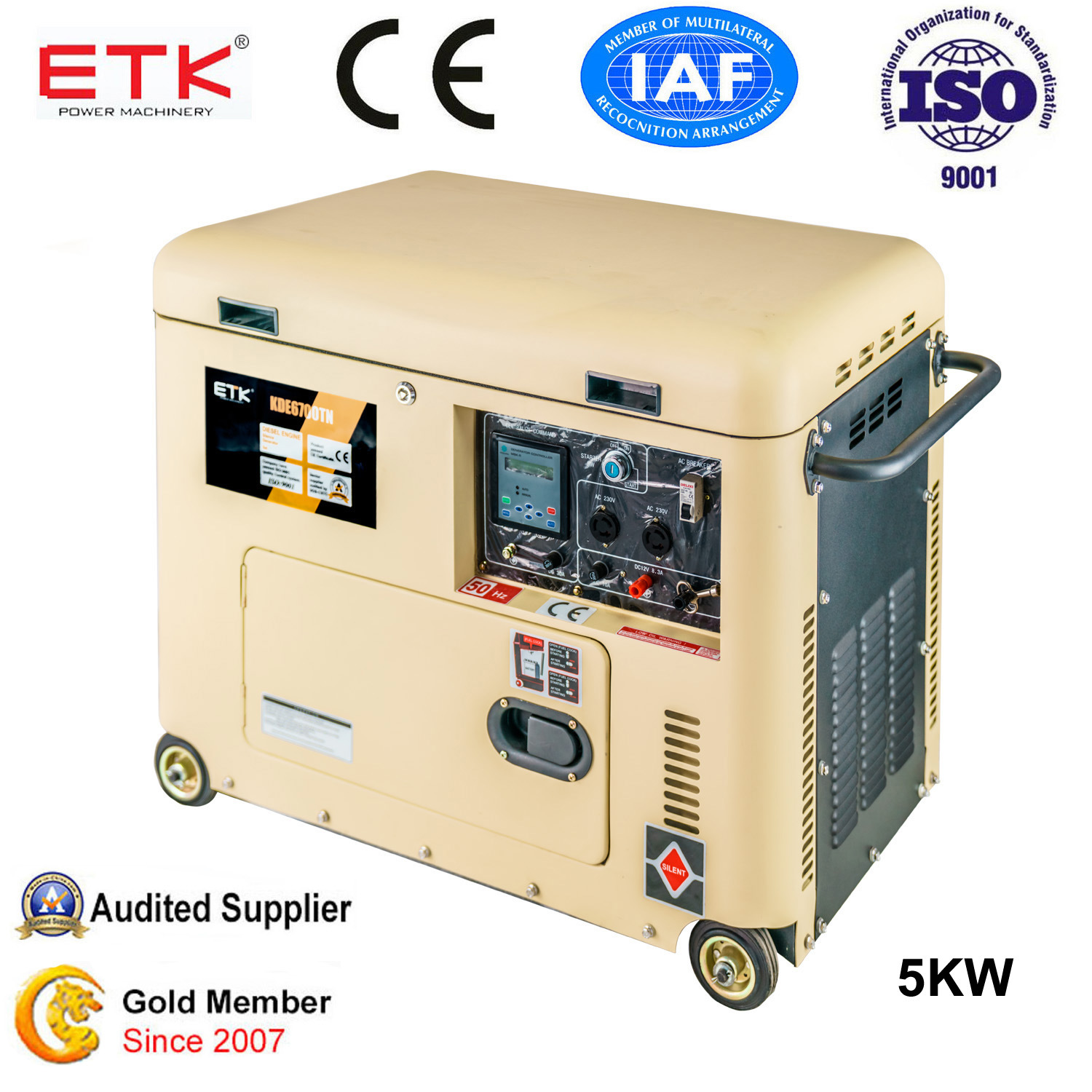 China 5kw Small Portable Silent Diesel Generator Set BDE6700TN