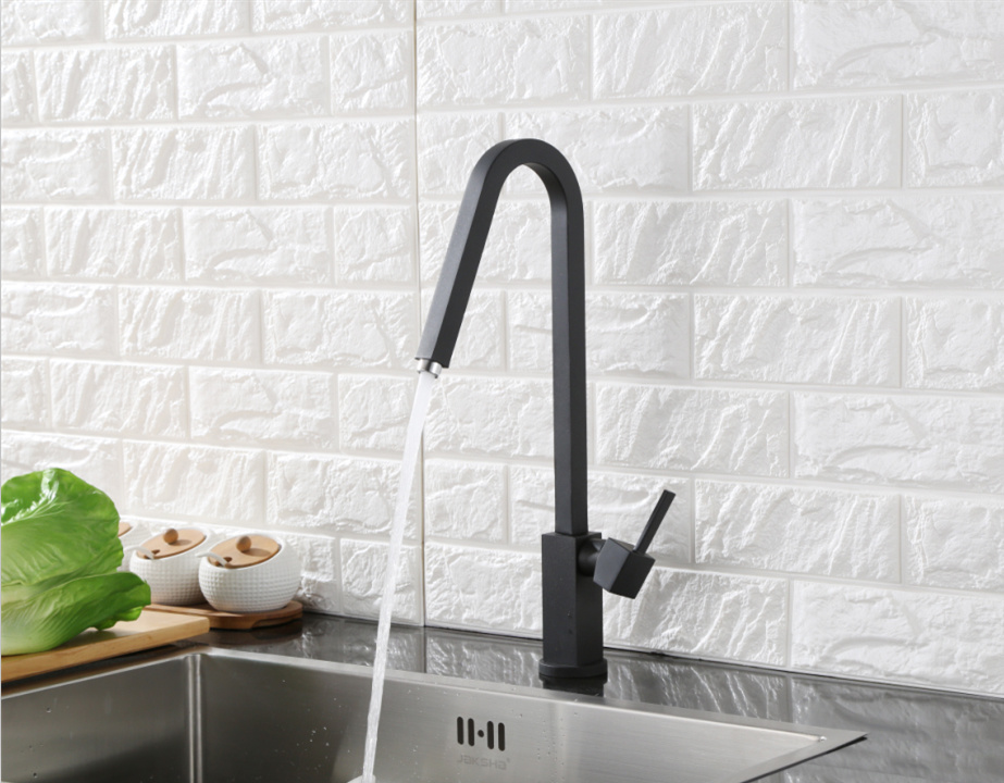 Black Color Square Swivel Kitchen Sink Water Faucet