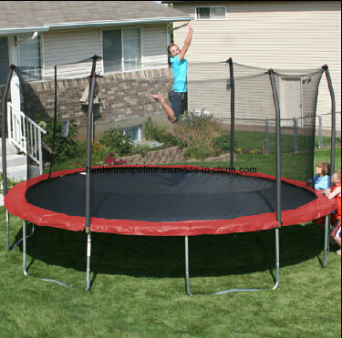 15FT Round Red Trampoline with 6 Legs and Safety Enclosure out of Door
