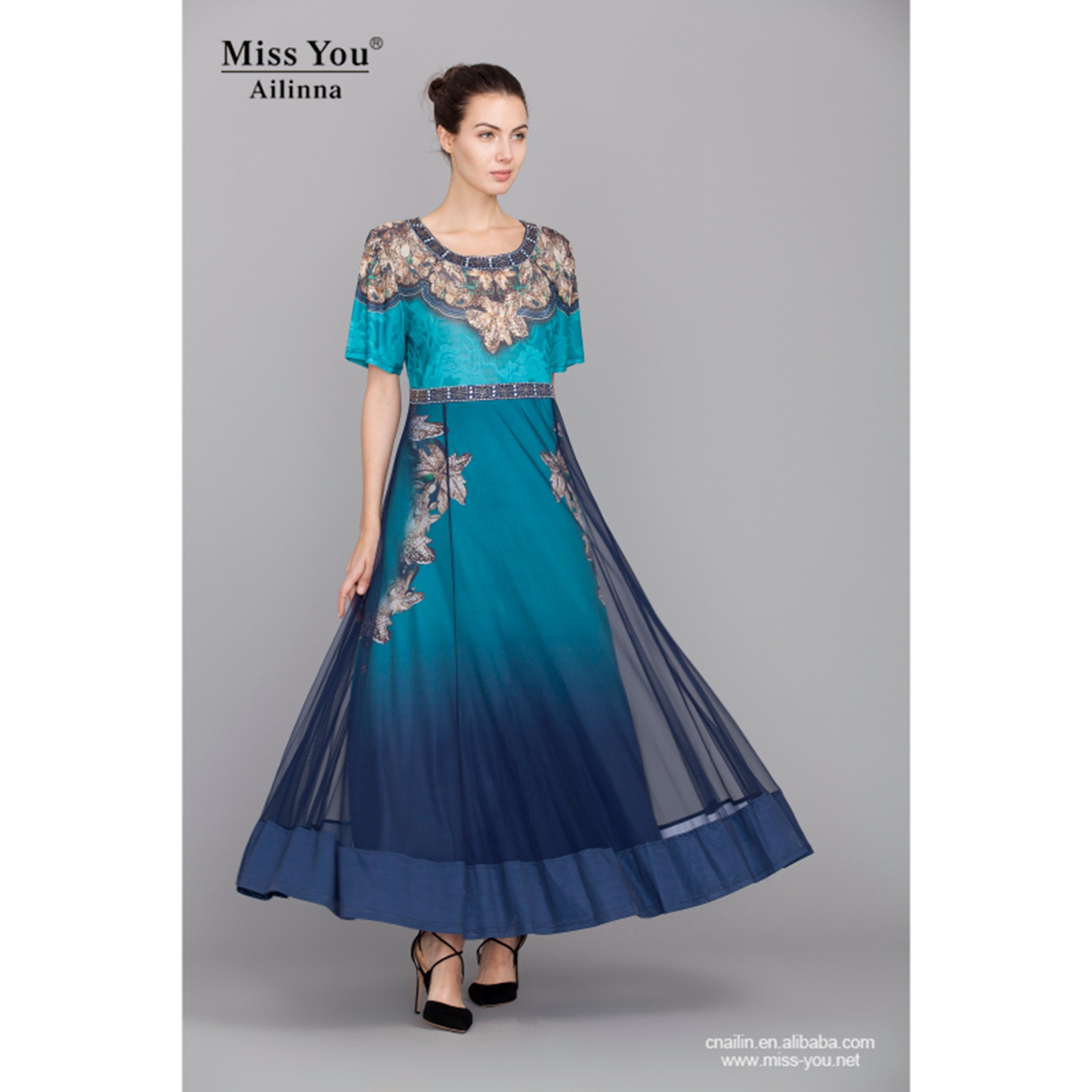 Miss You Ailinna 801412 Long Crystal Cotton Dress Distributor Printed Blue Beautiful Dress
