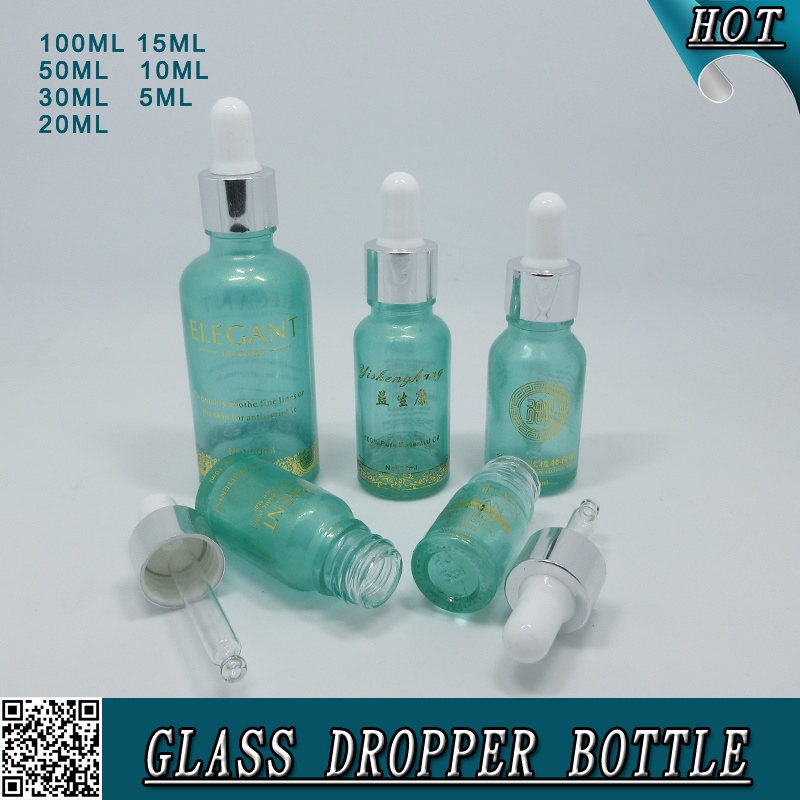 Transparent Blue Cosmetic Essential Oil Glass Bottle with Transfer Pipettes Eye Dropper