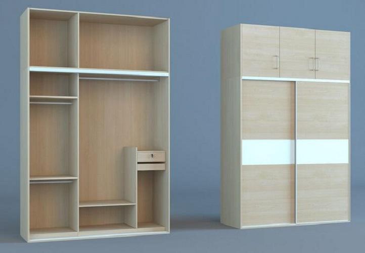 Cheap Bedroom Wardrobe 18mm MDF Board 2 Sliding Door (SZ-WDP02)