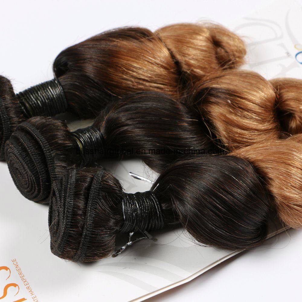 Natural Spring Curl Ombre Hair Remy Brazilian Hair 3 Pieces in One Pacl