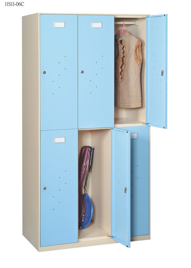 Six Swinging Doors Steel Locker with Supermarket Furniture/Wardrobe
