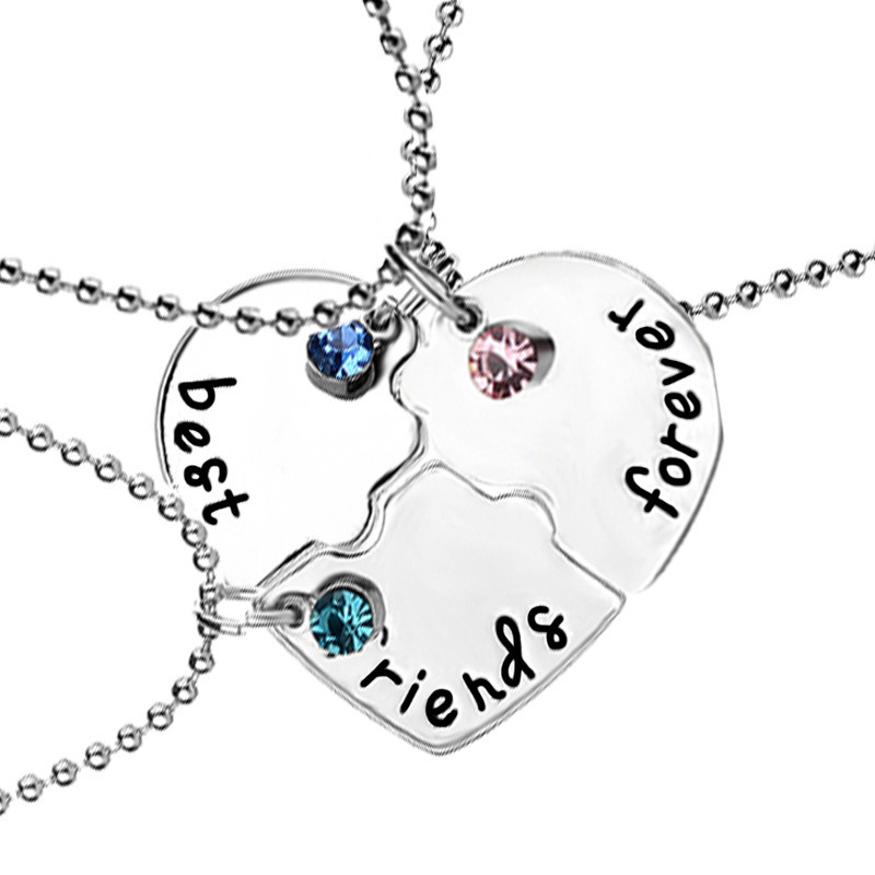 Promotional Jewelry Gift-Bff Best Friends Forever Love Break Heart Pendent Friendship Crystal Necklaces