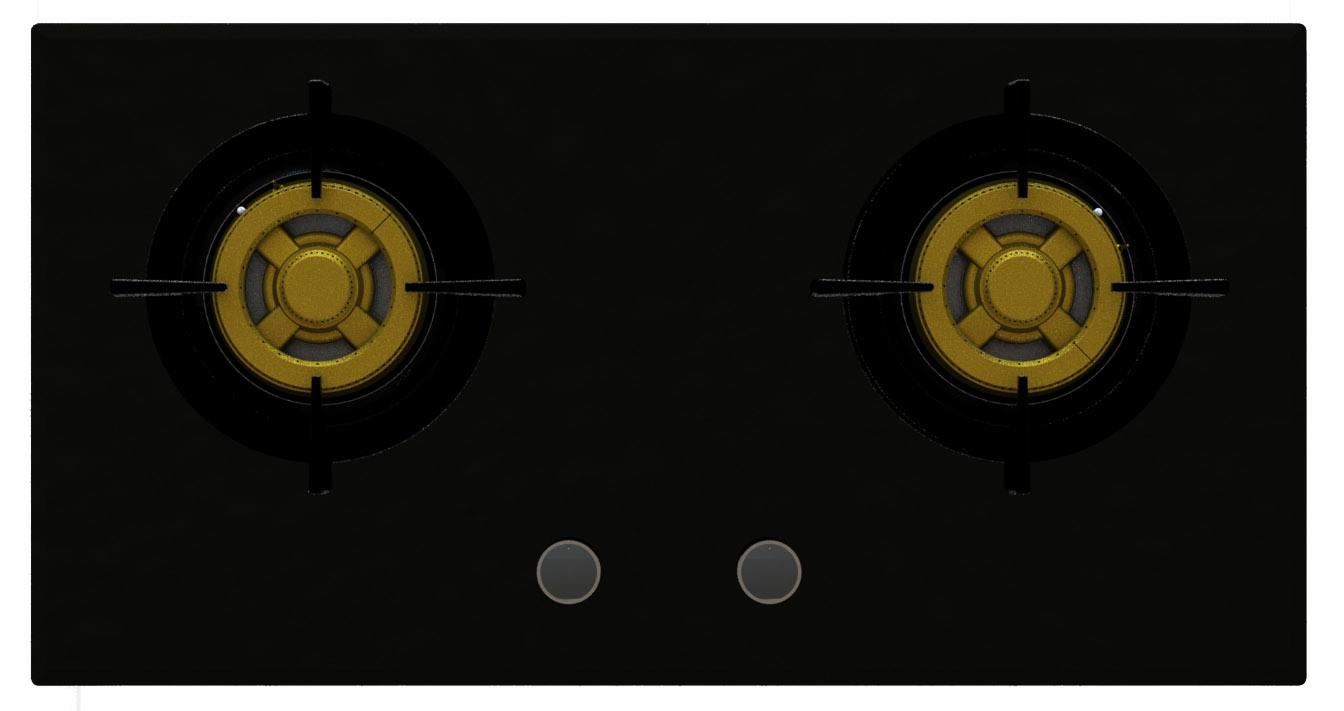Supreme Two Brass Burner Gas Stove (8mm Glass)