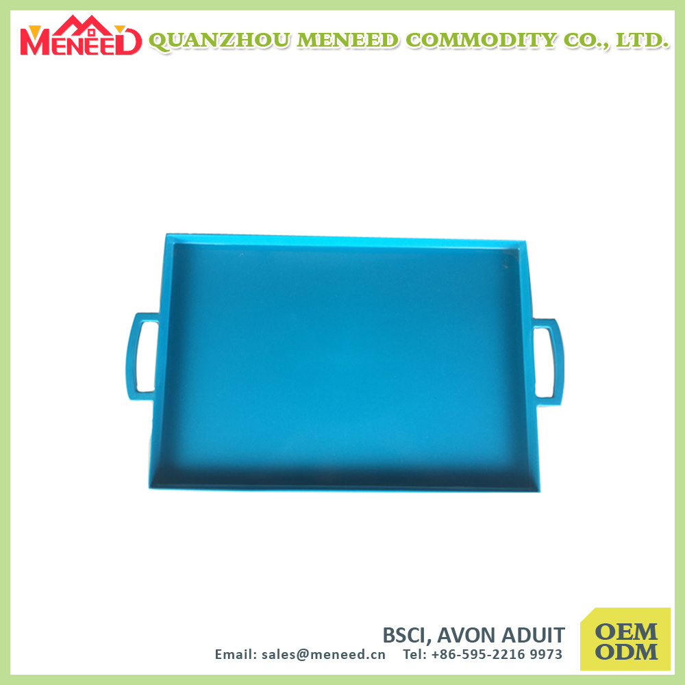 Blue Color Heavy Duty Food & Beverage Melamine Dinner Tray with Handles