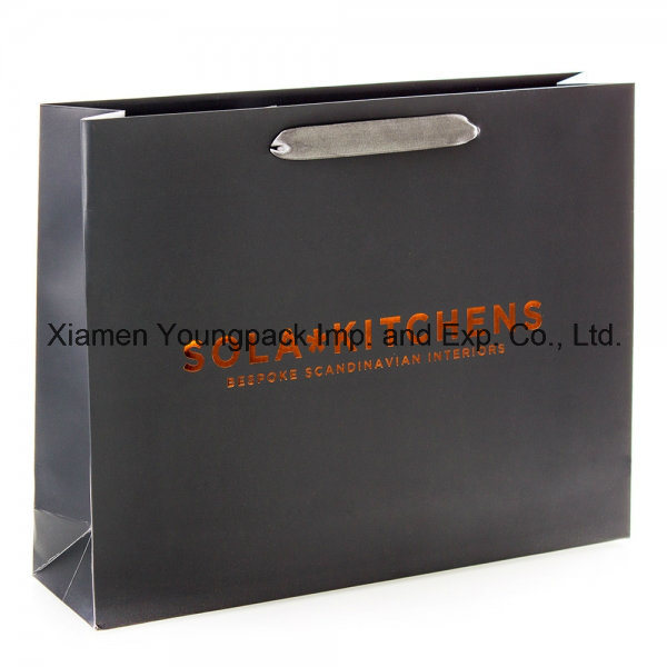 Fashion Customized Logo Imprined Art Paper Carrying Bag with Ribbon Handle