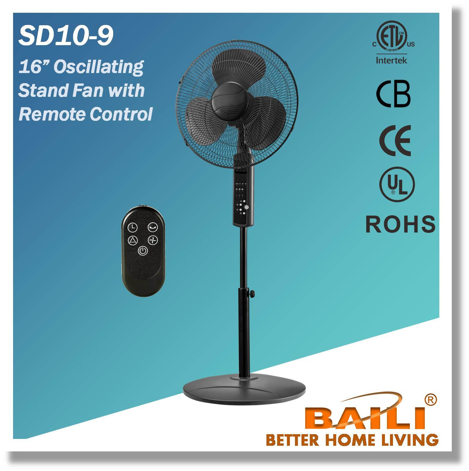 "16"" Oscillating Stand Fan with Remote"