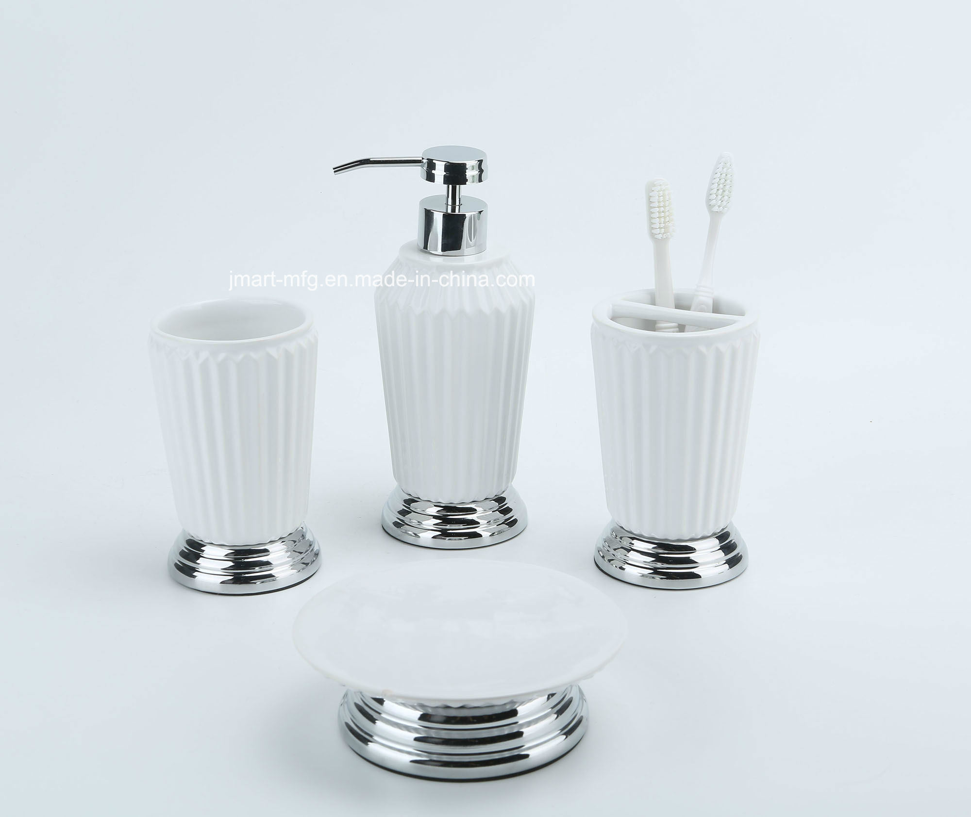 Ribbed 3D Metal Ceramic Bathroom Accessory