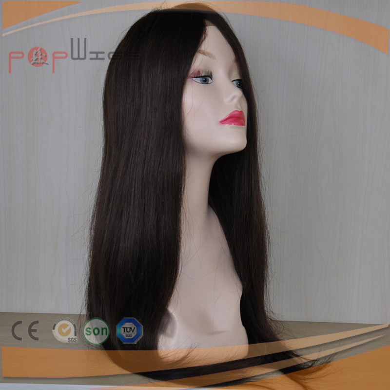 Long Full Human Hair Medical Cap Density PU Custom Lace Front Women Wig