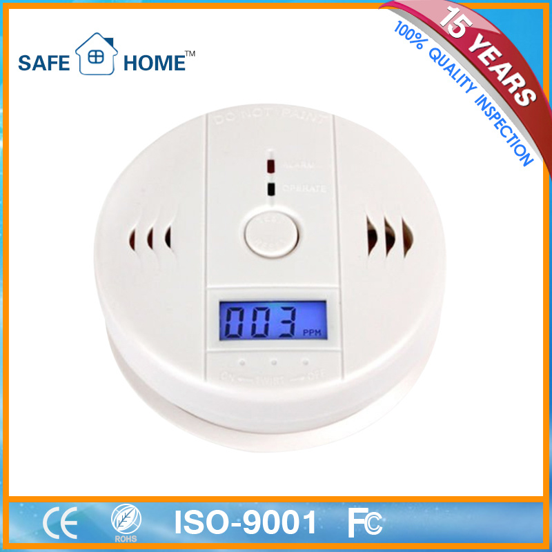 Auto Carbon Monoxide Sensor LCD Battery Backup for Home Security
