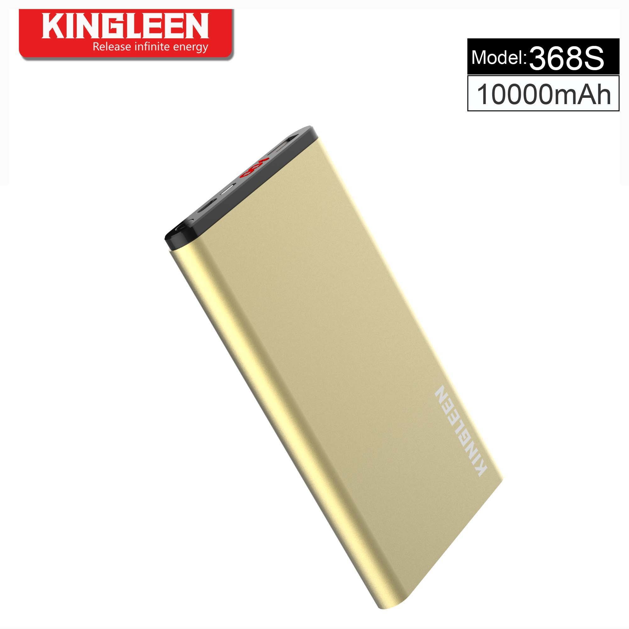 Model 368s Single USB Dual Inputs for Lightning & Micro-Standard Micro10000mAh Power Bank High Quality and Ultra-Thin Ultra-Light Hot Sell Made in Kingleen