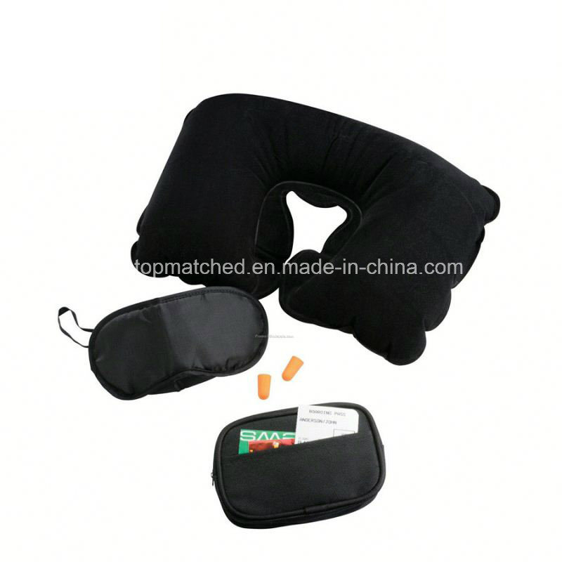 Comfortable Plush Travel Kit Eye Mask Neck Travel Pillow, Neck Inflatable Pillow Travel