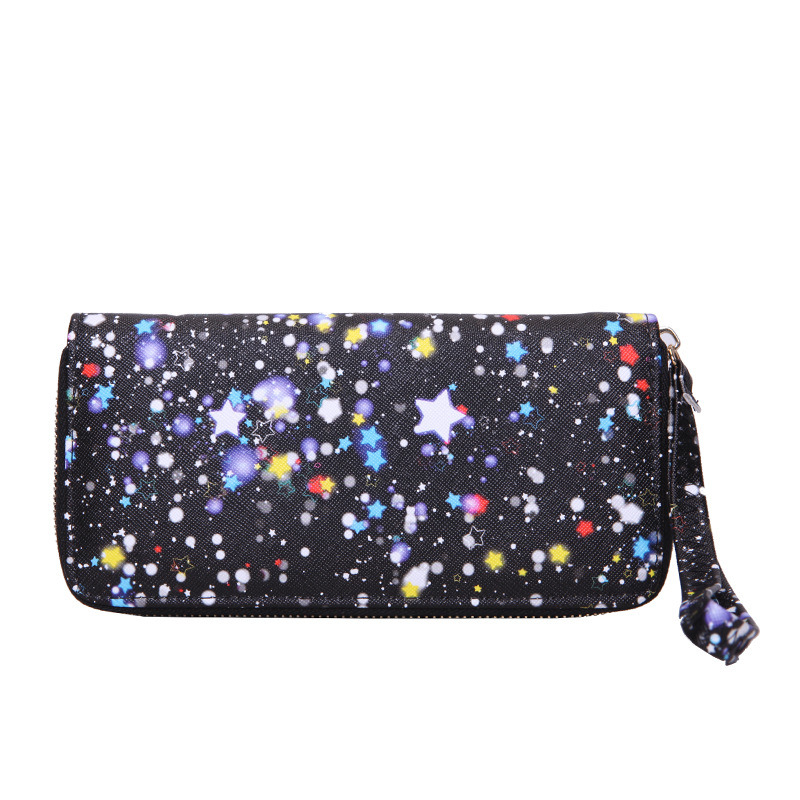 Shinny Star Printed Fabric Women Lady Wallet in Long Style