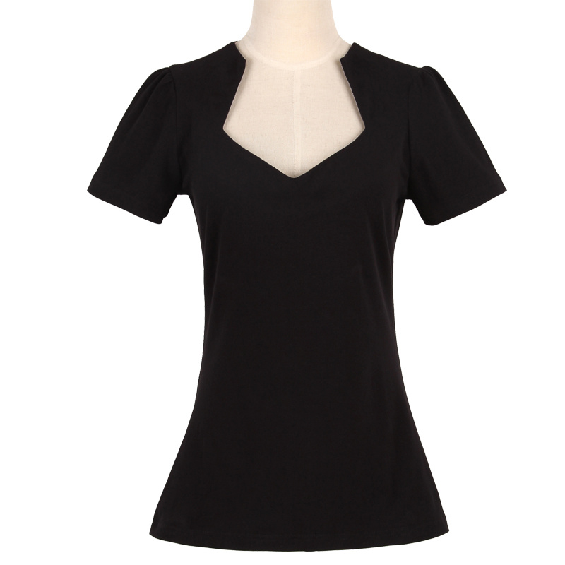 Candow Clothing Deep V Neck Ladies Plain Black Sexy T Shirt 100%Cotton