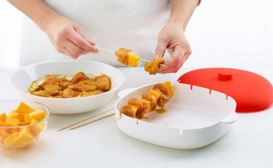 Silicone Brochette/BBQ Container/Box Making Skewer Appetisers in The Microwave