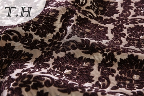 2017 Large Chenille Fabric Brown Flowers Made in Chinese Manufactory