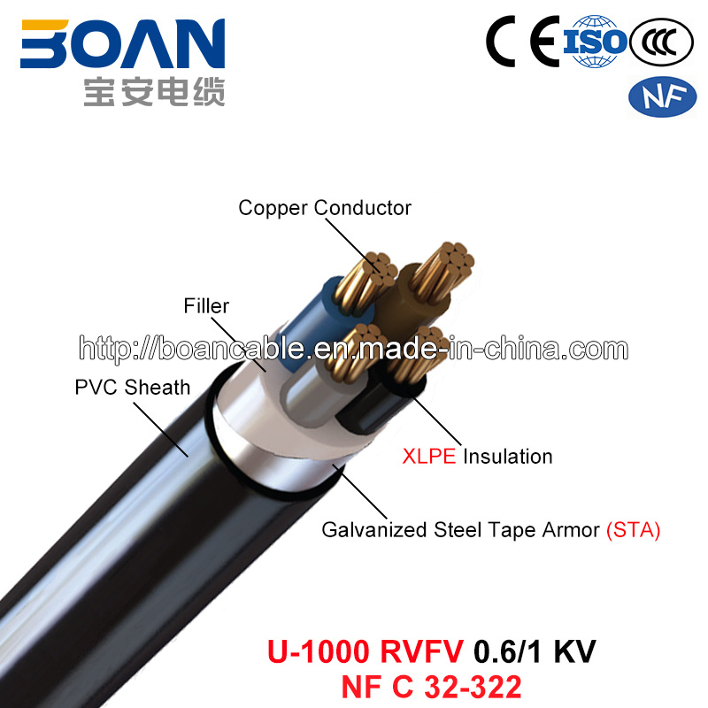 U-1000 Rvfv, Power Cable, 0.6/1 Kv, Cu/XLPE/PVC/Sta/PVC (NF C 32-322)