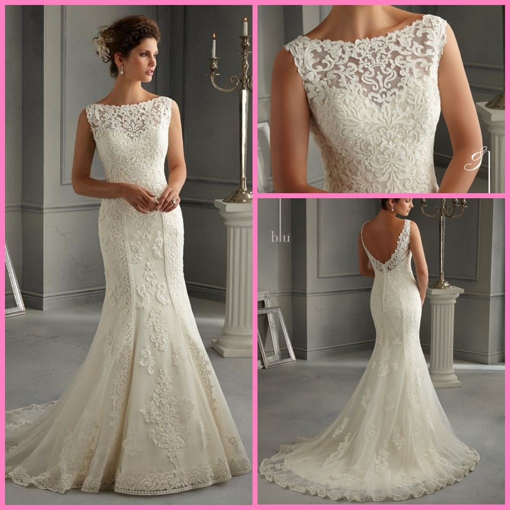 china lace bridal gown vestidos boat neck mermaid wedding dress mrl2016 photos pictures made. Black Bedroom Furniture Sets. Home Design Ideas