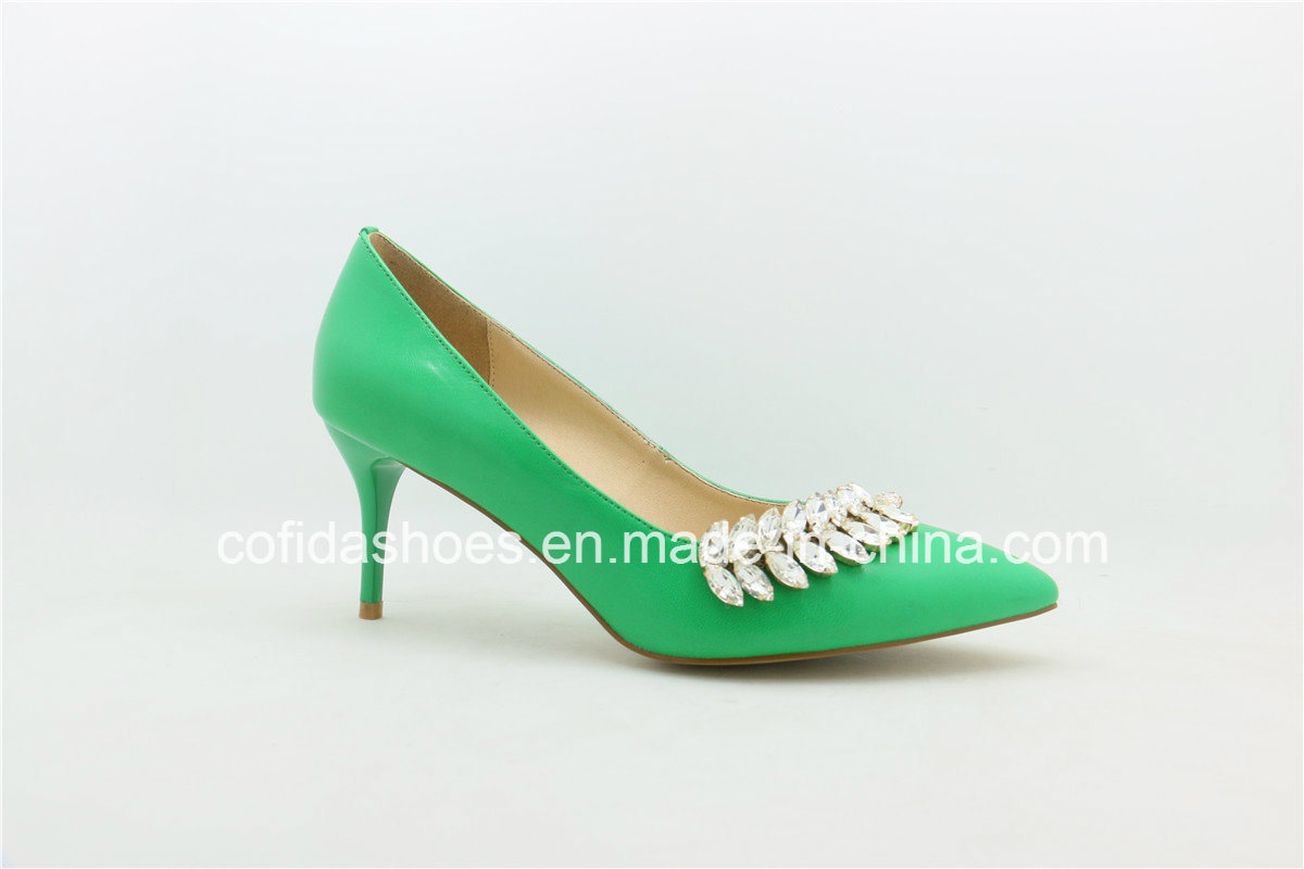 Fresh Green Leather Women Shoe with Fashion Diamond
