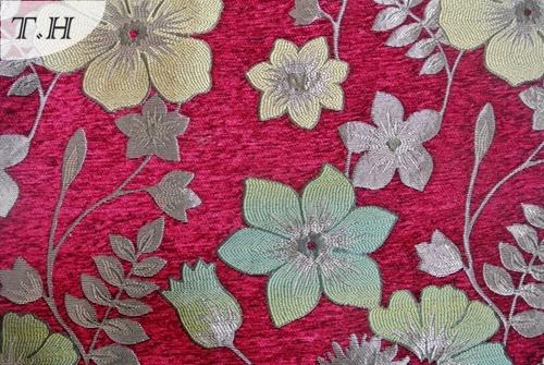 2017 The Brighter Red Chenille Jacquard Sofa Cloth (FTH31795)