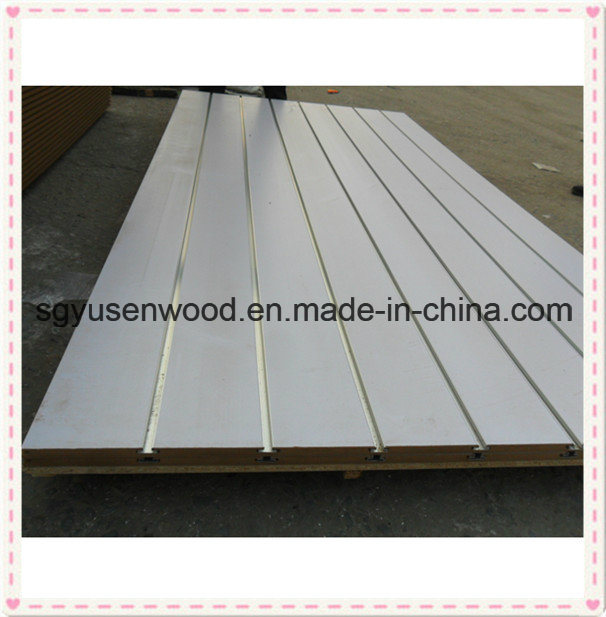 Melamine MDF Slatwall with Aluminum Inserts/Slotted MDF