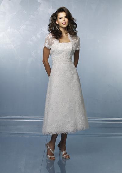 China tea length lace applique wedding dresses with lace for Lace jackets for wedding dresses