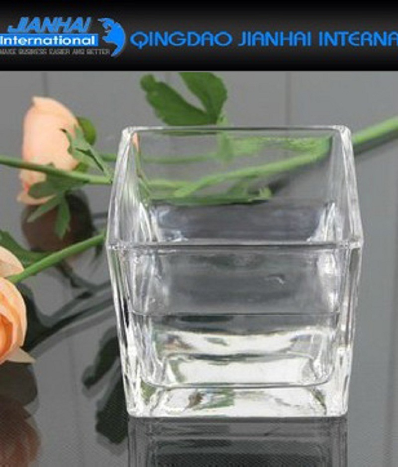 Square Glass Candle Holder Tealight Candlestick for Party Decoration